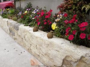 モルタル造形で作った花壇は、草花がよく似合います