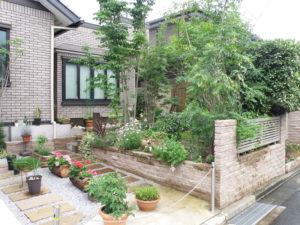 道路に面した庭は洋風で植物にあふれた緑多い景色に…