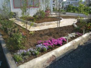 この庭は植物が主役で… 庭の真ん中の花壇のまわりをぐるりと散歩